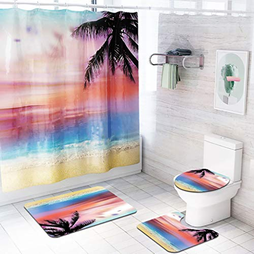 AIUSD Clearance , 4PCS Non Slip Toilet Polyester Cover Mat Set Bathroom Shower Curtain