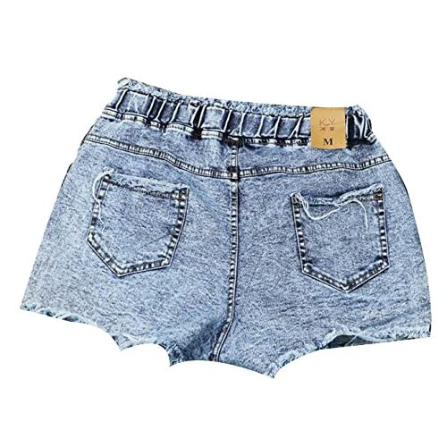 8ebf487e78c INTEEING Women Vintage Summer Ripped Elastic Waist Denim Shorts Jeans lovely