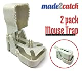 made2catch Easy Use New Generation Mouse Traps - 2 traps - Humane Mouse Traps Quick Kill - Reusable Plastic Mouse Traps that Work - Easy Set Snap Mouse Trap - Mice and Small Rodents Control