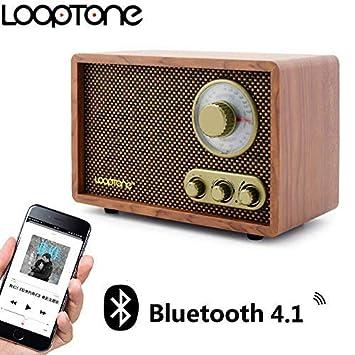 Looptone Radio de Mesa Vintage de Madera con Perilla giratoria ...