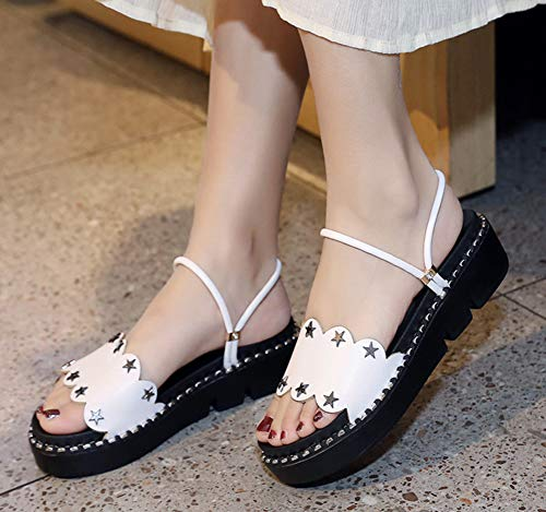 Blanc Femme Mules Chaussure on Rivets Mignon Slip Plate Easemax TaBwgnqf