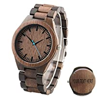 Custom Engraved Wood Watch for Men Personalized Wooden Wrist Watch - Groomsmen Gift Father's Day Gift - Free Engraving