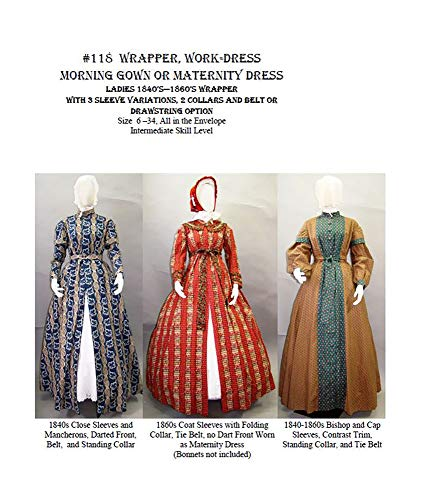 - 1840's - 1860's Ladies Wrapper, Work-Dress, Morning Gown or Maternity Dress Pattern