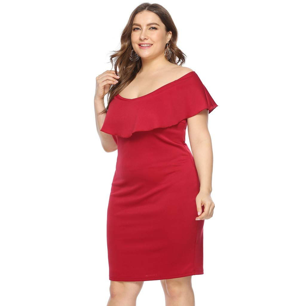 ZOMUSAR 2019 Women Plus Size Sexy Cold Shoulder Dress Solid Ruffle Pleated Mini Dress Red by ZOMUSAR (Image #3)