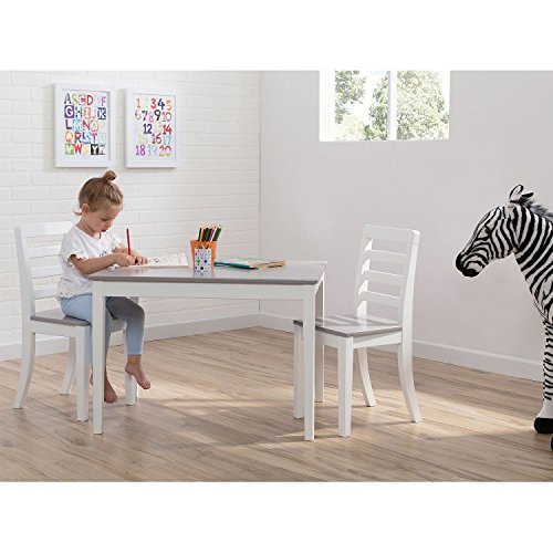 Delta Children Table and Chairs, 3-Piece Set (White and Grey) by Delta Children (Image #2)'