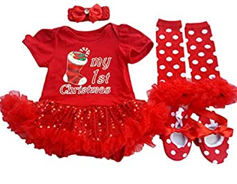 AISHIONY Baby Girl 1st Christmas Tutu Outfit Newborn Princess Party Dress 4PCs (3-6 Months, red Christmas Sock)