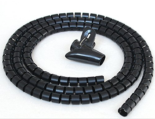 #1 Cable Organizer Coiled Tube Sleeve Cable-GVDV Cable Management(Black)-5ft Cable Wrap