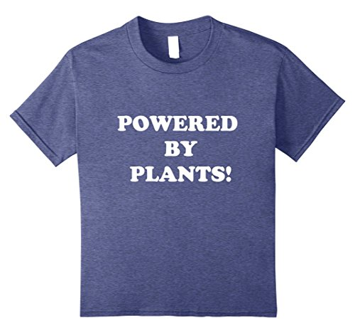 Kids Powered by Plants Shirt Funny Vegan Vegetarian T-Shirt Eco 10 Heather Blue (Kids Eco Heather)