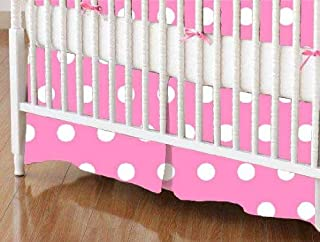 product image for SheetWorld 100% Cotton Percale Crib Skirt 28 x 52, Polka Dots Pink, Made in USA