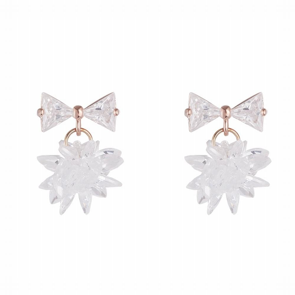 Ling Studs Earrings Hypoallergenic Cartilage Ear Piercing Crystal Flower Stud Earrings Short Zircon Earrings Earrings