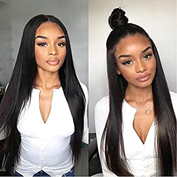 Image of Allove Hair Glueless 360 Lace Front Wigs Human Hair with Baby Hair Pre Plucked 150% Density Straight Human Hair 360 Lace Wigs for Black Women (20inch)