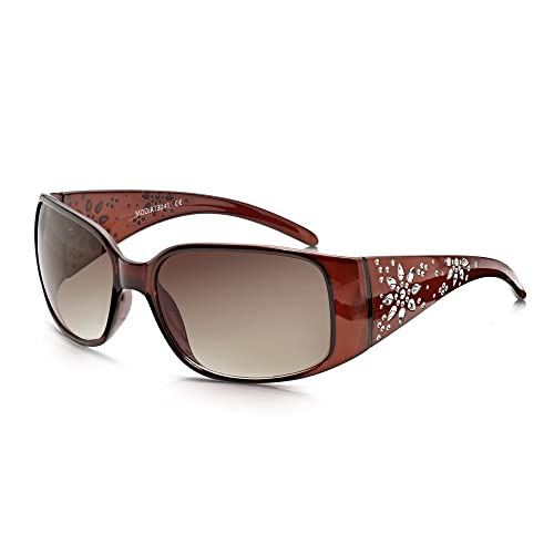 Gafas yonqui marrón para mujer Daisy Glamour Wrap gafas de sol