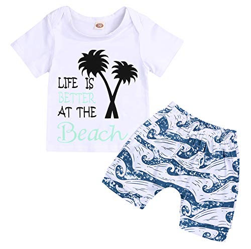 - YOUNGER STAR Baby Boys Girls Short Sleeve Shady Beach Glasses Shirt Summer Clothes and Palm Shorts Set