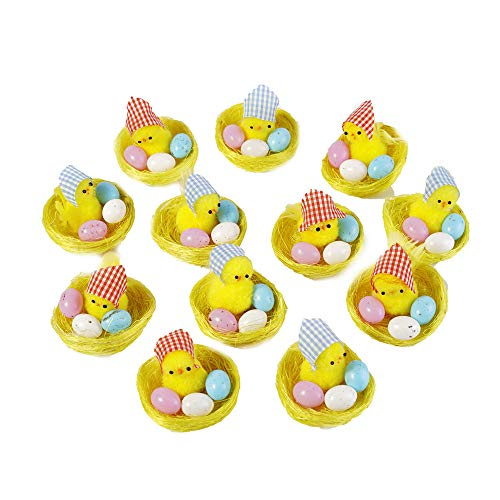 CHARMGIRL Mini Easter Chicks Kit- Pack of 12 Cute Small Yellow Chicks Easter Eggs Chicken Coop Party Favors Kids Easter Egg Bonnet Decoration Gift ()