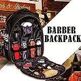 Portable Barber Backpack Makeup Tool Bag Multifunction Travel Backpack Cosmetic Organizer Box Waterproof Storage Bag (Color: Black)