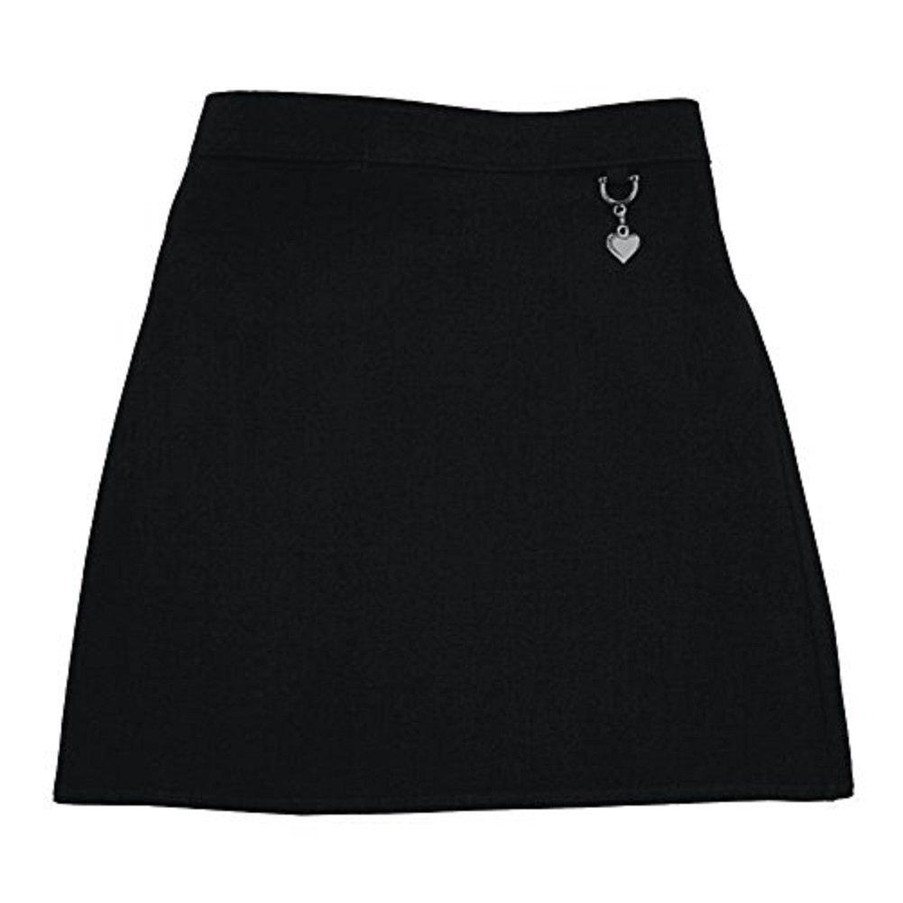 Momo& Ayat Fashions Girls School Uniform Lycra Plain Skirt Elasticated Back with Heart Attachment Age 2-16