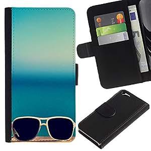 Paccase / Billetera de Cuero Caso del tirón Titular de la tarjeta Carcasa Funda para - Sunglasses Glasses Teal Blue Summer Sun - Apple Iphone 6 4.7