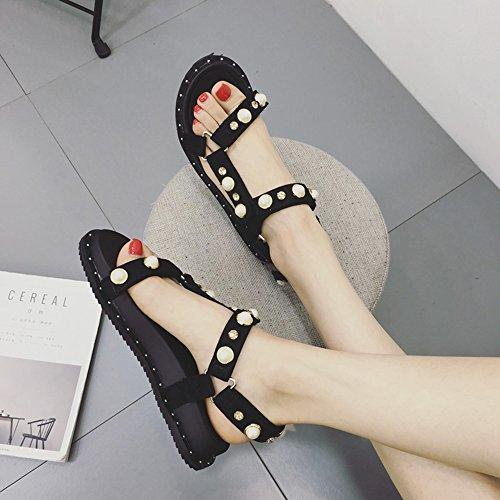 Zapatos Eu36 Verano 5 Mujeres Casual Mujer Negro De Talón Para uk3 Perla cn35 Sandalias Haizhen Plana tamaño Estudiantes Moda Gruesa aFqdIdc