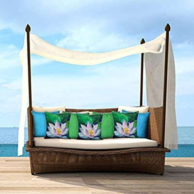 Sunburst Outdoor Living Cojín Decorativo Light Green Stripe 50cm x 50cm (con Borde) Funda Cojín para Sillón, Sofá, Cama o Patio – Solo Funda, Sin ...