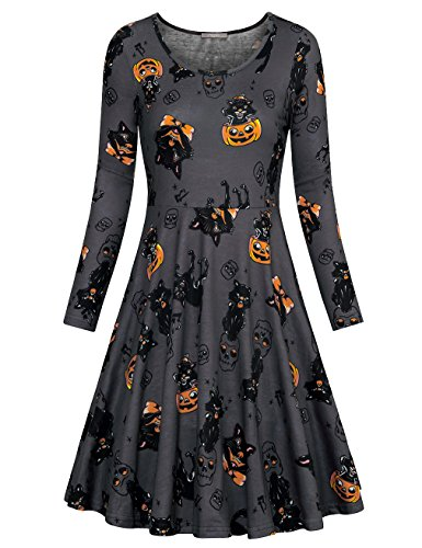 Furnex Halloween Costumes For Women, Long Sleeve Dresses For Fall Winter Going Out Mini Dress B0753D9YX2 (Large,Gray Pumpkin) (Halloween Costumes For Going Out)