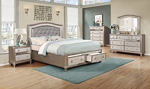 (Coaster Home Furnishings 204180Q Upholstered Bed, Metallic Platinum)