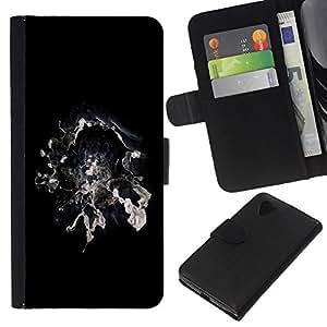 Stuss Case / Funda Carcasa PU de Cuero - Resumen de humo Galaxy Espacio Mágico Negro Blanco - LG Nexus 5 D820 D821