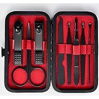 Geewhy Manicura Set -8 en 1 manicure kit,hombres profesional nail Clipper Scissors Grooming Kit,acero inoxidable manicura y pedicura para mujeres,con cuero negro caso de