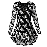 Women Tops Daoroka Ladies Sexy Lace Long Sleeve Zipper Butterfly Printed V Neck Casual Loose Pullover Shirts Fashion Autumn Winter Cute Comfort Tunic Crop Blouse