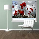 RED POPPY FIELD FLORAL IMAGE Printed Picture Blackout Photo Roller Blind - Custom Made Printed City Scenes Window Blind