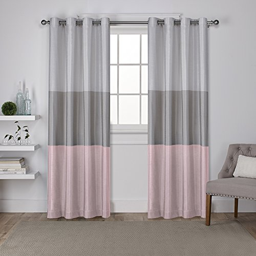 - Exclusive Home Chateau Striped Faux Silk Window Curtain Panel Pair with Grommet Top, 54x96, Blush, 2 Piece