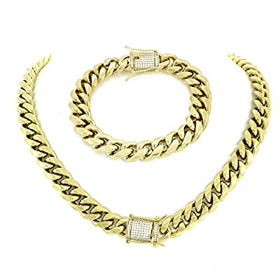 "12mm 30"" Cuban Link Chain & 8.5"" Bracelet Set - 1ct Lab Diamond Clasp - 14k Gold Plated Stainless Steel from HarlemBling"