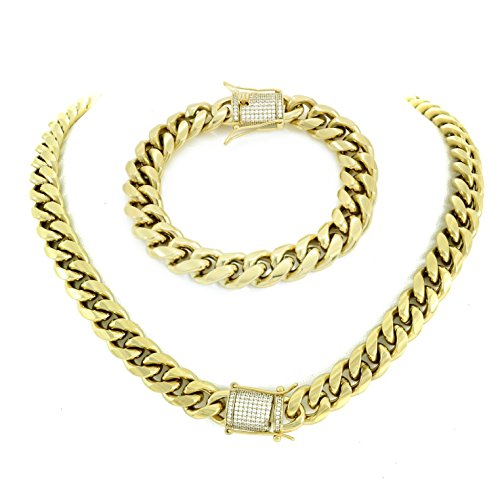 (HarlemBling Luxurious 30 Inch Gold Miami Cuban Link Chain with 8.5 Inch Bracelet for Men. Set Includes Brilliant 1 Carat Diamond Clasps. Heavy 14k Gold Plated Stainless Steel Looks Like Solid Gold)