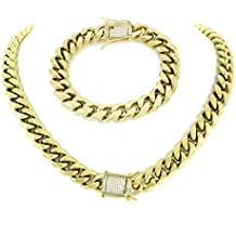Luxurious 30 Inch Gold Miami Cuban Link Chain with 8.5 Inch Bracelet for Men. SET Includes Brilliant 1 Carat Diamond Clasps. Heavy 14k Gold Plated Stainless Steel Looks Like Solid Gold