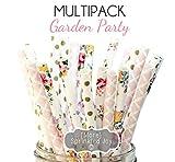 Designer Durable Disposable Drinking Paper Straws (25) Garden Party