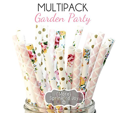 Designer Durable Disposable Drinking Paper Straws (25) Garden Party