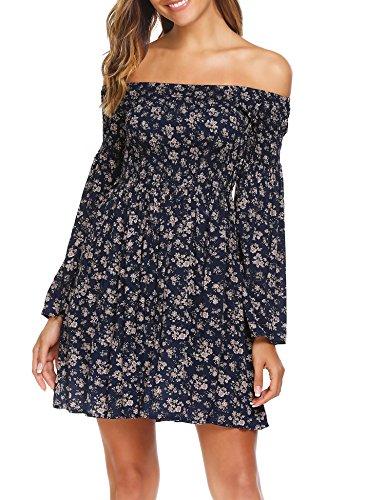 Dress Sleeve Shoulder Blue Flare Pleated Waist High Beyove Women Swing Long Floral Ruffle Off HUU7Rq