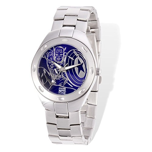 Marvel+Watches Products : Marvel Adult Size Captain America Silver-tone Watch