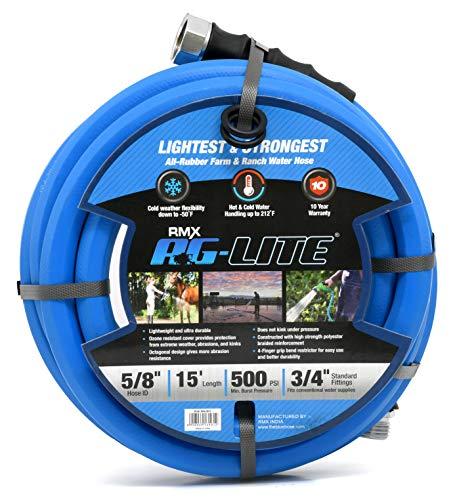 """BluBird AG-Lite Rubber Hot & Cold Water Rubber Garden Hose: Ultra-Light & Super Strong  (5/8"""" x 15"""