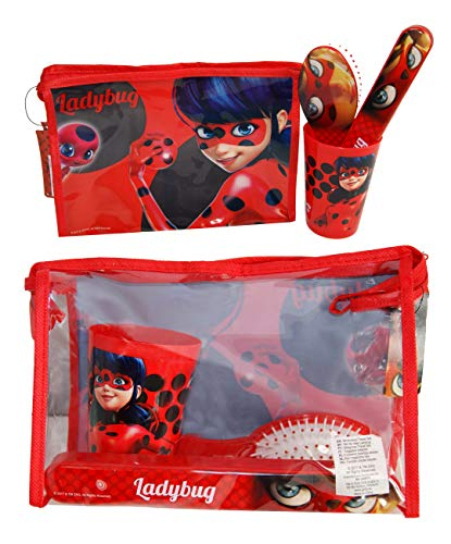 Official Ladybug Filled Travel Toiletry Bag;Hair Brush-Toothbrush Holder-Cup