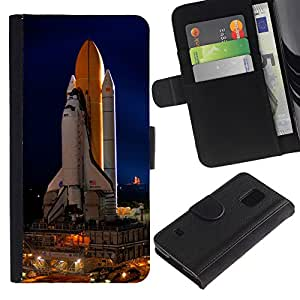 Planetar® Modelo colorido cuero carpeta tirón caso cubierta piel Holster Funda protección Para SAMSUNG Galaxy S5 V / i9600 / SM-G900 ( Space Ship Launch Rocket Nasa Vuelo Tecnology )