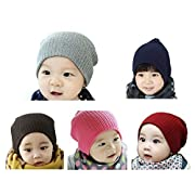 GEOOT Baby Kids Boy's Girls Hat Cool Knit Beanie Warm Winter Toddler Infant Cap Set Of 5