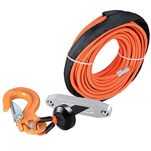 "Astra Depot 50' x 1/4"" Orange Rock All Heat Guard Synthetic Winch Rope Cable 7000LBS w/Yellow Half-Linked Hook + Rubber Stopper + Hawse Fairlead for Car ATV UTV Ramsey KFI"