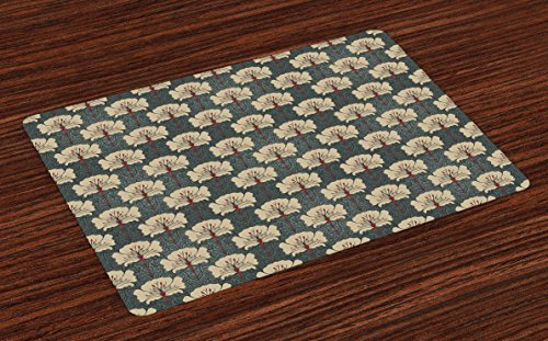 (Ambesonne Floral Place Mats Set of 4, Art Nouveau Style Romantic Poppy Flowers Artistic and Ornate Nature Design, Washable Fabric Placemats for Dining Room Kitchen Table Decor, Tan Grey)