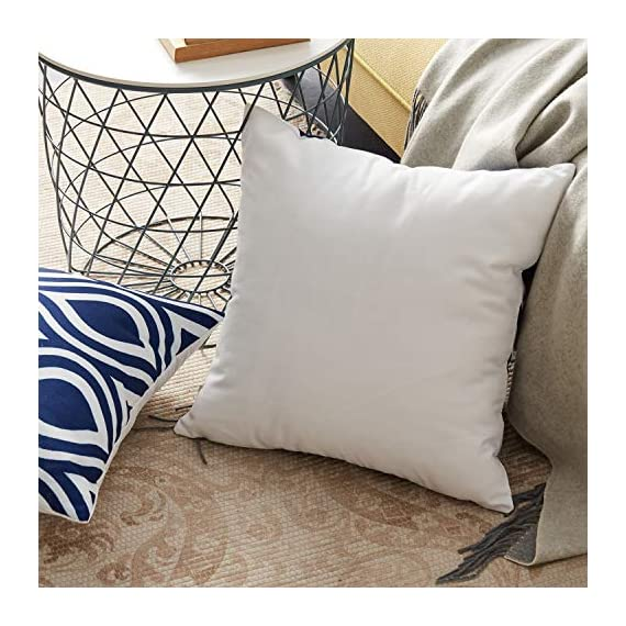 Top Finel Accent Decorative Throw Pillow Covers Durable Canvas Outdoor Throw Pillow Covers 20 X 20 for Couch Bedroom, Set of 6, Navy - SUPER PLUSH MATERIAL & SIZE: Made of durable canvas, comfortable to touch and lay on. 20 X 20 Inch per pack, included 6 packs per set, NO PILLOW INSERTS. WORKMANSHIP: Delicate hidden zipper closure was designed to meet an elegant look. Tight zigzag over-lock stitches to avoid fraying and ripping. NO PECULIAR SMELL: Because of using environmental and high quality canvas fabric,our throw pillow cases are the perfect choice for those suffering from asthma, allergen, and other respiratory issues. - patio, outdoor-throw-pillows, outdoor-decor - 51pzR xO0jL. SS570  -