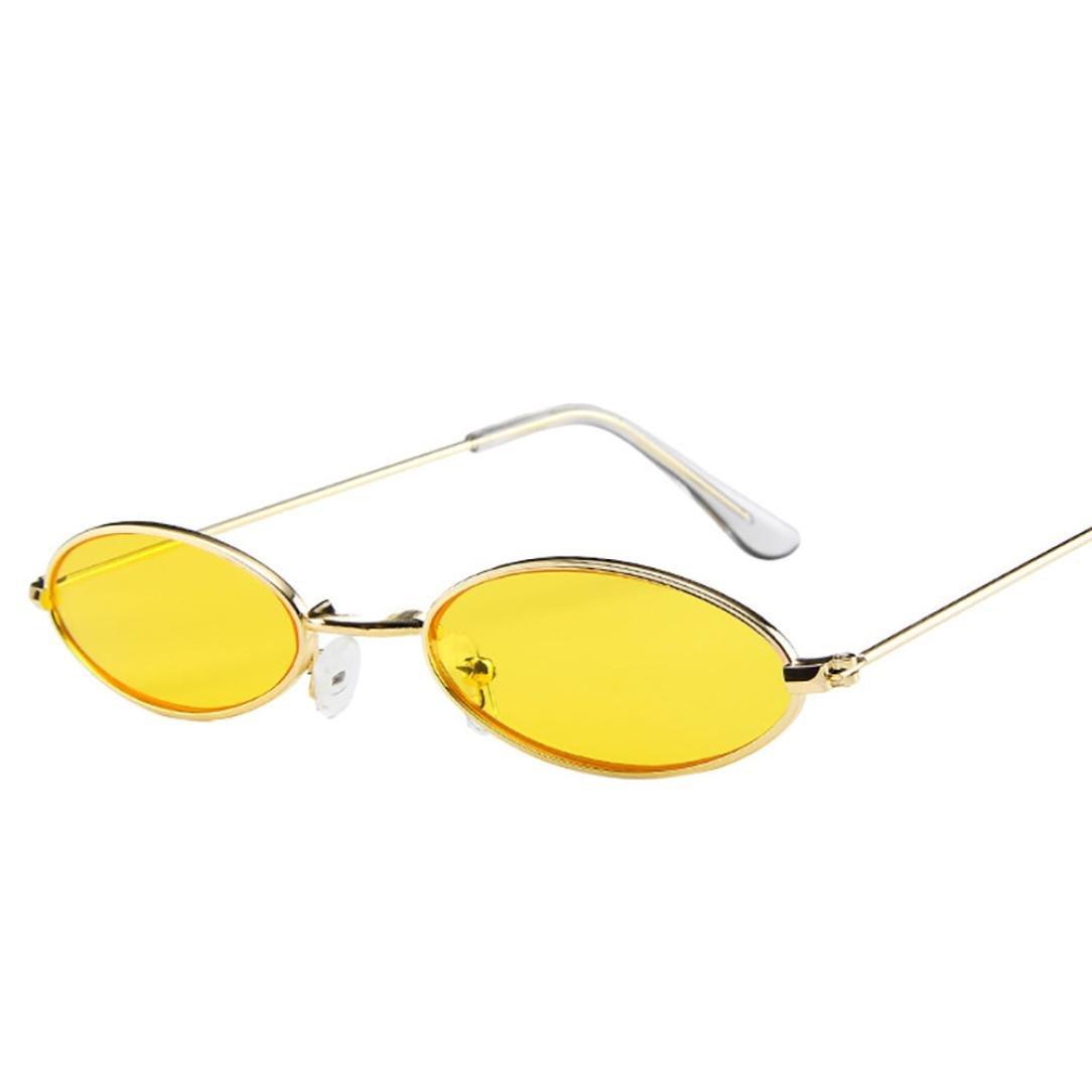 Huhu833 Mode Unisex Retro kleine ovale Sonnenbrille Metallrahmen Shades Eyewear Reise Sonnenbrille