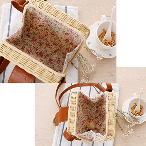 Zhuhaitf Ventas calientes High Quality Womens Candy Color Small Square Box Messy Woven Bag Beach Bags Simple Orange