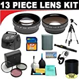 2x Digital Telephoto Professional Series Lens + 0.5x Digital Wide Angle Macro Professional Series Lens + 3 Piece Digital Camera Filter Kit + Lens Adapter Tube (If Needed) + SD 2GB Memory Card + Deluxe DB ROTH Super Savings Accessory Kit For The Canon XS X