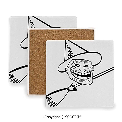 Ceramic Coasters with Cork Base, Prevent Furniture from Dirty and Scratched, Suitable for Kinds of Mugs and Cups,Humor Decor,Halloween Spirit Themed Witch Guy Meme Lol Joy,3.9
