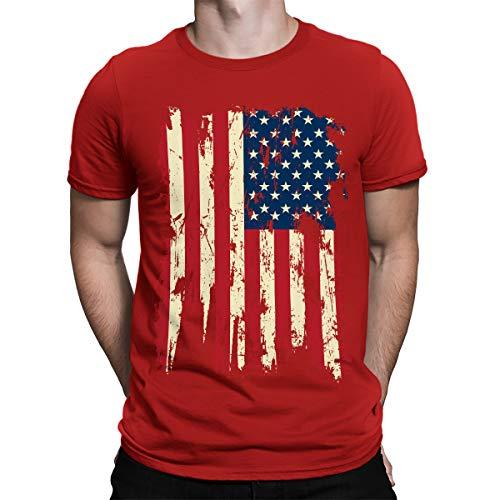 SpiritForged Apparel Vintage Distressed USA Flag Men's T-Shirt, Red Small