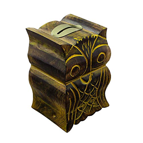 RoyaltyRoute Wooden Money Box Decorative Hand Crafted Safe Coin Cash Piggy Bank Owl Shaped Wood Toys and Game for Kids, Adults & Children